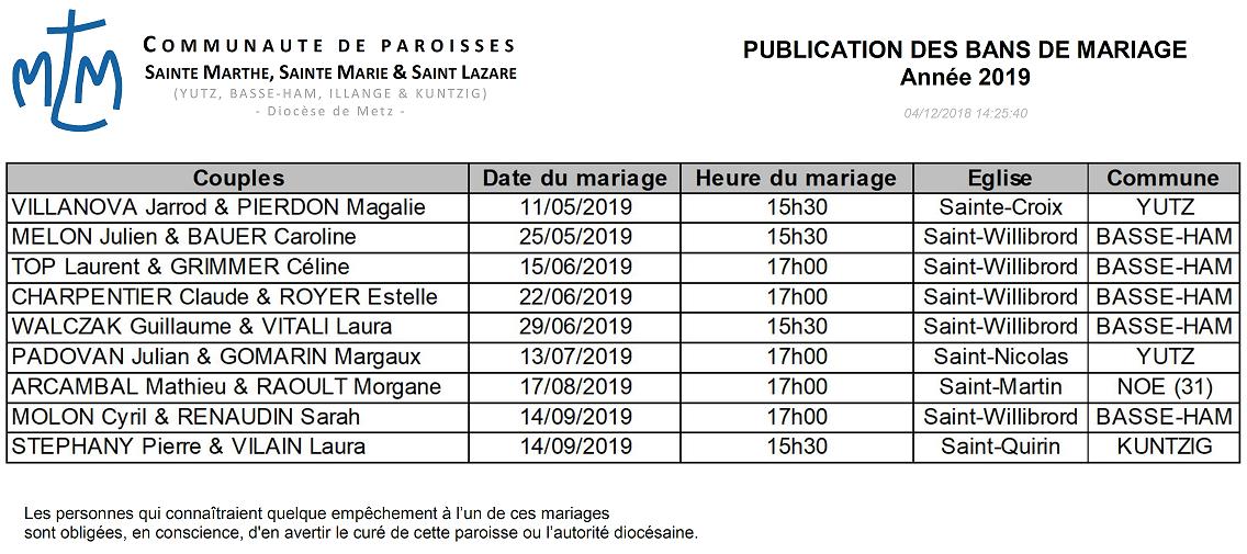 Publication des bans mariages 2019