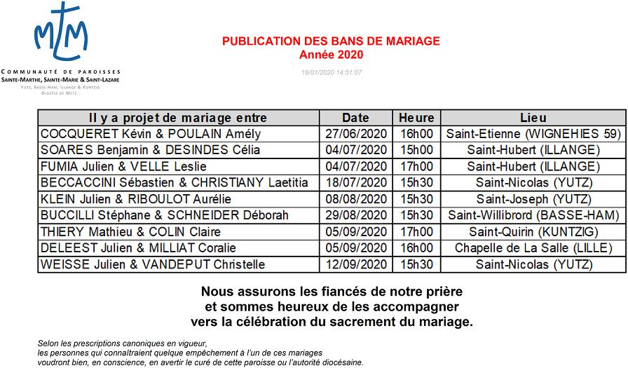 Publication des bans mariages 2020
